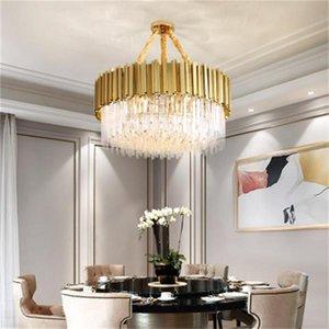 lustre en cristal moderne conduit pour les luminaires de salle de lustres cuisine chambre des chambres à chaîne ronde d'or de luxe