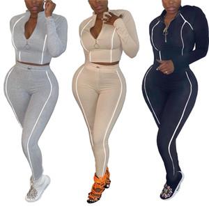 خريف شتاء النساء 2 قطعة مجموعة الأزياء الرياضية نحيل الصلبة السرة الأعلى وسروال رياضية جرزاية تتسابق