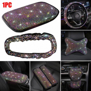 New Universal Rhinestone Diamond Car Accessories Steering Wheel Cover Car Decor Set wc7J#