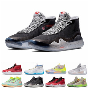 2019 Hommes Chaussures de basket-ball KD 12 11 90 EYBL Guerriers enfants Accueil loup gris Uuiversity finales Red Kevin Durant 12s Sport Baskets Sneakers 7-12