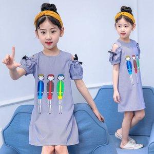 Çocuk Giyim kızlar Prenses lu Jian Çun askısız etek' 2020 Yaz yeni peri cartoonshoulder elbise Batı tarzı prenses elbisesi çizgili