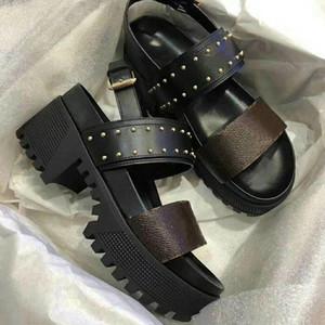 sandalias de las nuevas mujeres de las sandalias de cuero de Laureate vidriada Becerro sandalia de la plataforma del verano altos talones de las sandalias del diseñador del partido atractivo de buena calidad