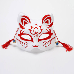 Masques Fox japonais peints à la main style PVC Fox Chat Masque Cosplay Festival de boule de mascarade Kabuki Kitsune cosplay costume JK2009PH