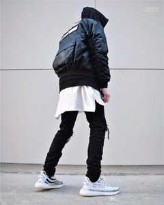 Casual Mens High Street Tshirts KANYE Mens Verão tshirts do desenhista Tops Irregular Hem solto Shorts luva