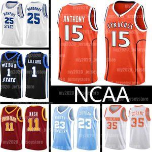 NCAA Camerlo 15 Anthony Jersey Lebron 23 James 0 Damian 1 Lillard Syracuse College Weber State 25 Penny HardAway Kevin 35 Durant Basketball