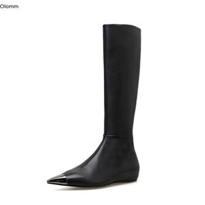 Olomm neue handgemachte Frauen kniehohe Stiefel Interne increas Schuhe Stiefel Spitzschuh Elegante schwarze Partei-Schuh-Frauen-US-Größe 4-13