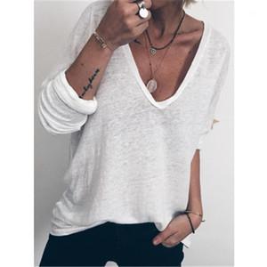 Moda Casual solta mangas compridas Tees Tops designer de Nova fino fêmea Seção T-shirt das mulheres T-shirt cor sólida V-neck Verão