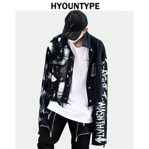 Tasarımcı Düzensiz El Boyalı Yırtık Kot Ceket Kaban Erkek Hip Hop Sonbahar Kabanlar Moda Siyah Jean Streetwear Ceketler