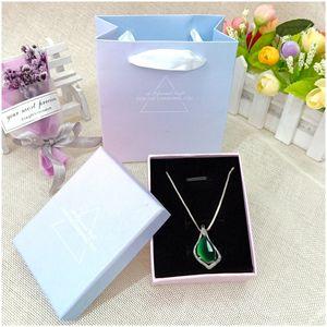 bracelet collier rose gradient boucles d'oreilles emballage bijoux bague boîte bleue Bracelet bracelethigh-end ins boîte à bijoux ALSxr