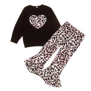 Toddler Baby Girls Clothes Set Heart Print Long Sleeve Tops+Leopard Pants +Headbands Outfits Set5