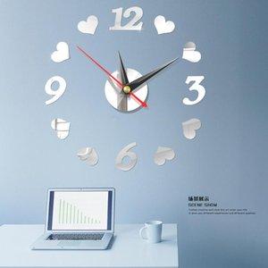 Muro DIY Acrílico Espelho Relógio de parede adesivo Modern relógio relógio silenciosa Espelho Número Home Office Decoração Escola