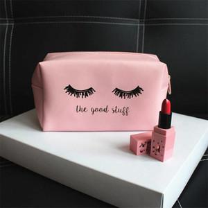 PURDORED 1 Pc Pink Eyelash Cosmetic Bag PU Leather Women Makeup Bag Kawaii Travel Makeup Pouch Vanity Cosmetic Cases Kosmetyczka