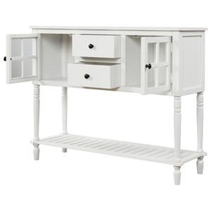 Consola de mesa aparador con Estante del fondo granja de madera / cristal Buffet Gabinete de almacenamiento Sala Blanca WF193444AAK