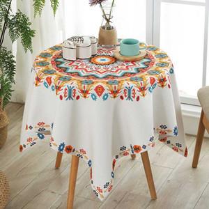 RZCortinas Table carré de tissu de soirée de mariage Table Cloth Impression florale salle à manger Nappe rectangulaire couverture style bohème