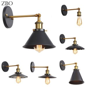 Retro Wall Lamp Black Iron Lampshade E27 Edison Industry American Indoor Lighting For Living Room Vintage Wall Lights Loft