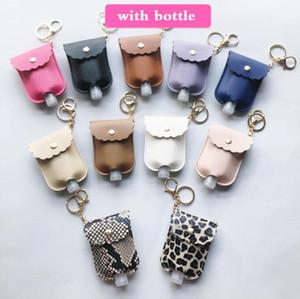 PU Leather Hand Sanitizer Bottle Holder Keychain Bag With 30ML Bottle Leopard Print Hand Soap Bottle Holder Key Ring Pendants Cover
