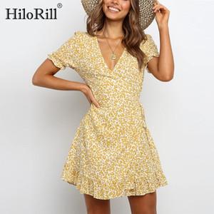 Hilorill Mulheres Bohemian V Neck Ruffle Mini Vestidos de Verão Manga Curta Feriado Casual Vestido Uma Linha Wrap Beach Vestido Vestidos