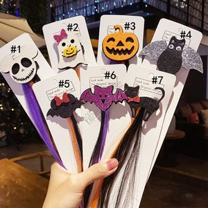 Halloween perruque colorée enfants clip en épingle à cheveux filles barette coiffure Ghost Cat Bat citrouille cheveux Parti cosplay longue perruque de poils D82706