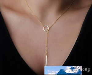 Hot sale Dogeared Choker Necklaces Gold Plated Simple metal ring Pendant Necklace For women Fashion Jewelry Valentine's Day Gift 341