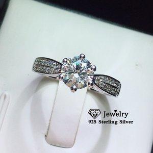 Rings For Women S925 Silver Round 6 1ct Cubic Zirconia Engagement Ring Bridal Wedding Fine Jewelry Bijoux Femme 1577