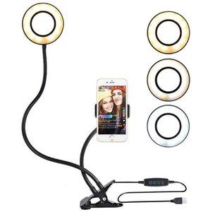 Flash Heads Camera Studio 3 Modos Usb Anel Light para YouTube Video Live Selfie Ringlight com 360 graus Titular do telefone móvel LED