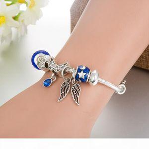 Fashion charm bracelet 925 silver panduo bracelet, suitable for female angel wings, bracelets charm Pandora love beads as Diy jewelry gifts