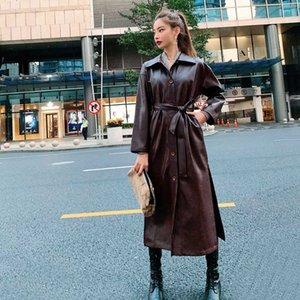 kemer Overcoat ile LANMREM Yakışıklı PU deri WINDBREAKER Woman 2020 bahar yeni Overknee Gevşek uzun Coat uzun Tide YJ030 manşonlu