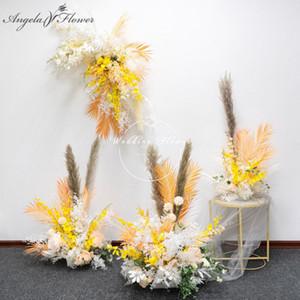 Reed Séché Plantes Fleurs fleurs artificielles Ligne de mariage Props Triangle Wall Road Lead Table Centerpieces Parti étape Décor