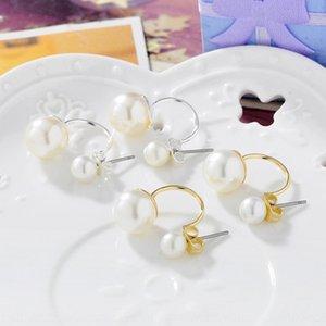 한국어 스타일의 간단한 한국어 진주와 스타일의 간단한 귀걸이 진주 귀걸이를 후면에 장착 된 후방 장착