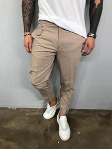 Solid pantaloni matita di colore Pantaloni Casual metà di vita Capris Pantaloni bottoni con tasche Mens Designer