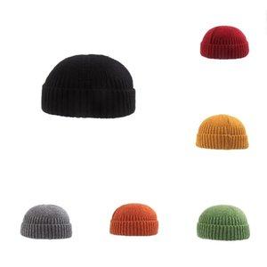 Kış erkek ve kadın kısa kubbe kapağı sokak modası örme soğuk kap kavun cilt şapka hip hop şapka örme şapka T500249