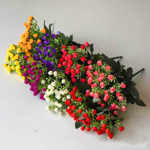 2 Bunch Искусственные цветы Милан Почки Многоцветный Малый Роза Почки Свадебный букет Свадьба День рождения Домашнее украшение