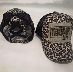 Trump 2020 diseñadores Cola de caballo Cap Cross Baseball Caps lavados sombreros de las mujeres de verano de malla Snapback del sombrero de la manera del leopardo Deportes Hip Hop visera E81901