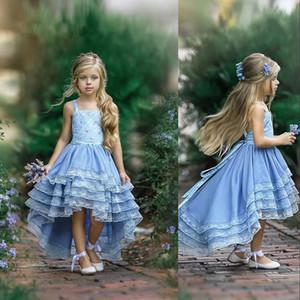 Новая дешевая Sky Blue Flower Girls платье для венчания Birthday Party бретельки Кружева Бича Boho Высокие Низкое Многоуровневое Первое причастие платье
