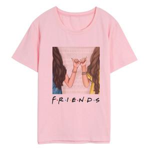 ZOGANKIN Donne New Harajuku Kawaii della maglietta di estate del fumetto Best Friends rosa Stampa maglietta Streetwear stile coreano femminile T shirt