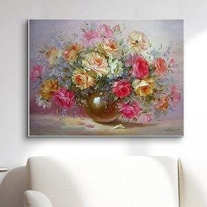 Klassische bunte Blumen Diy Digital Painting By Numbers Kits Acryl Bild Moderne Wand-Kunst-handgemaltes Ölgemälde