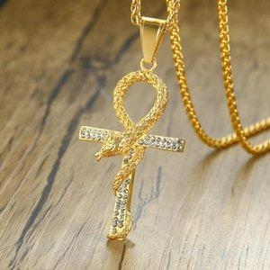 Animale di cristallo Collana in acciaio inossidabile oro di Hip Hop Anka Snake Croce serpente a sonagli deserto egiziano Neckalces Croce
