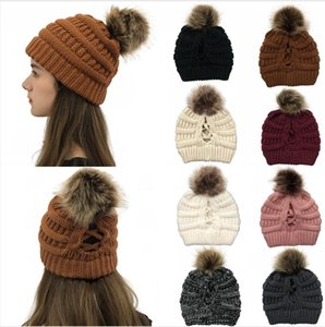 Knitted Hat Women Winter Pom Pom Beanie Skullies Ponytail Cross Cap Headgear Warm Wool Caps Girl Knitting Bonnet Party Hats LJJP559-3