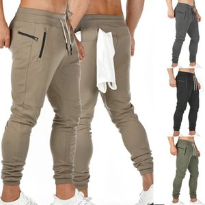 Men Sportswear Drawstring Waist Sports Trousers Gym Joggers Pants Zipper Pockets Sweatpants Track Pants Running