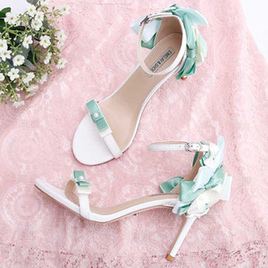 kmeioo cinghia sandali scarpe dolce estate donna caviglia di bowknot tacco alto fibbia tacchi sottili da promenade della cinghia scarpe