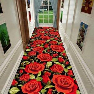 Wedding Decor 3D Rose Doorway Corridor Carpets Rug Indoor Mat Bedroom Decor Floor Carpet Bedside Area Rug for Living Room