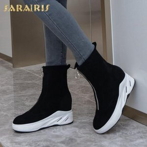 Sarairis 2020 New Arrivals In Pelz-warme Winterstiefel Frauen-Schuhe mit Reißverschluss oben Plattform Bequeme Flock Schnee-Stiefel Weiblich
