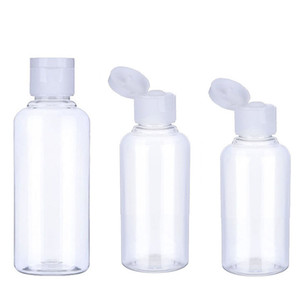 50pcs 10 30 50 60 100 ml Esvazie transparente bloco plástico garrafa de água clamshell Crystal Clear Flip Top Cap Recipientes de embalagem T200819