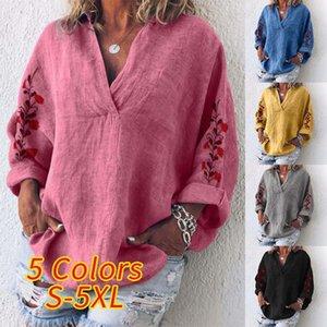 ZANZEA Autumn Cotton Linen Shirt Women V Neck Long Sleeve Blouse Floral Embroidery Tops Femme Robe Work Blusas Chemise Mujer 7 200924