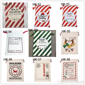 Холст Рождество Sants сумка Большой кулиской конфеты сумки Санта-Клауса мешок Xmas Санта Сакс подарочные пакеты для рождественского украшения LJJA1273