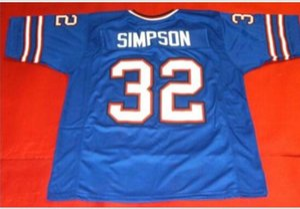 Frente a medida y volver tela de malla BLUE OJ Simpson alta calidad del bordado completo Jersey de la universidad TAMAÑO S-5XL o costumbre cualquier nombre o el número del jersey