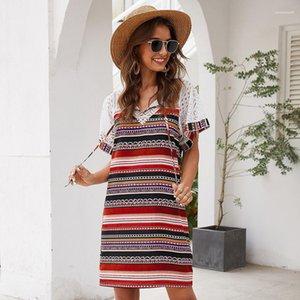 Vestidos Atire Seelve gola Striped Patchwork Imprimir Womens vestido de renda escavar Casual New Moda Womens