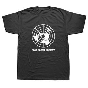 Flat Earth Society drôle de plaisanterie T-shirts Hommes d'été en coton à manches courtes Harajuku O Neck Streetwear T-shirt noir