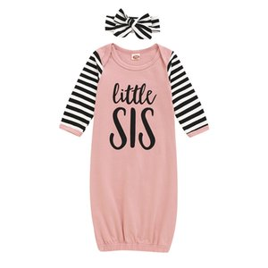 Bebê recém-nascido Sacos de Dormir letra impressa Bebe pijamas infantil roupa do bebê Little Sister desenhos animados listrado Pijamas com headband 060808