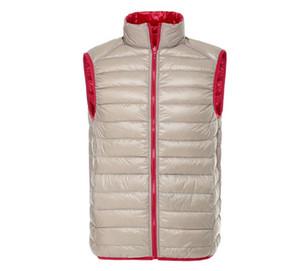 2020 Nova Quente Neve Homens Winter 90% Pato Branco Brasão de Down reversível Vest Moda Casual baixo Jakcet 0603-004